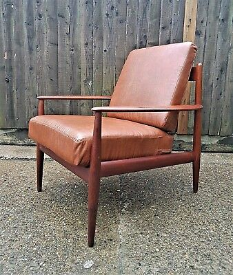 GRETE JALK FRANCE & SONS LEATHER TEAK ARMCHAIR VINTAGE MID CENTURY DANISH 60s