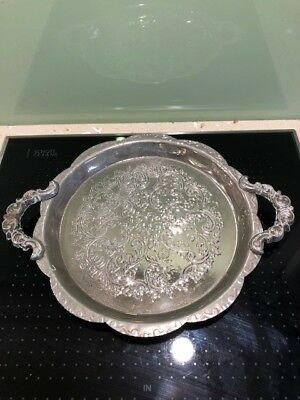 An antique silver plated etched calling card tray with handles