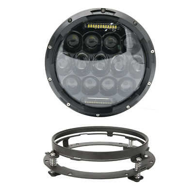 """7"""" Black 75W LED Harley Daymaker Projector Headlight 7 in Headlamp Mounting Ring"""