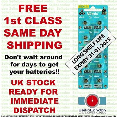 10X AG4 SR626SW G4A LR626 LR66 L626 177 377A 1.55v Battery FREE 1st class post