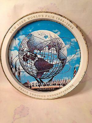 VINTAGE 1964-1965 NEW YORK WORLD'S FAIR UNISPHERE ROUND METAL TRAY~ Plate