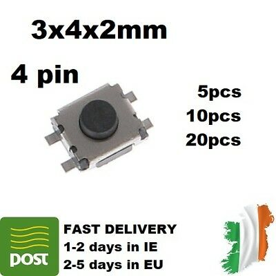5-30pcs 3x4x2mm 4pin MICRO SWITCH TACT SWITCH SMD PUSH BUTTON