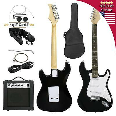 Full Size Black Electric Guitar For Beginner with Amp Case and Accessories Pack