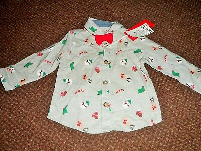 new f+f baby BOYS Christmas shirt 3 - 6 months - festive - with bow tie