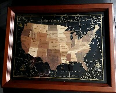 United States Of America Marquetry Wooden Inlay Handmade Map