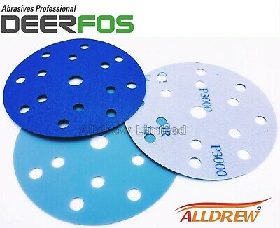 150mm Wet and Dry Sanding Discs 6'' Sandpaper 15 Hole Film Pads / 40 - 3000 GRIT