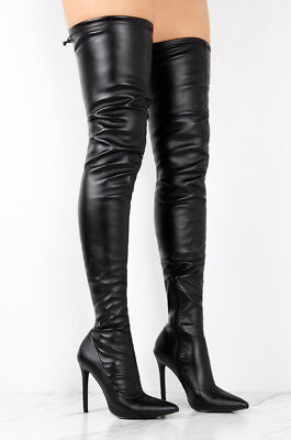 a49ae3e52c4c BLACK Leather Stretchy Thigh High Pointed Toe Stiletto Women Over The Knee  Boots