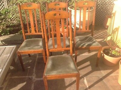 Four arts crafts liberty style oak dining chairs