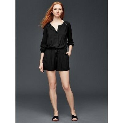 8fc4ae2845f6 GAP — Black Long Sleeve Romper Jumpsuit Shorts Button Pockets Women s Large  NWT