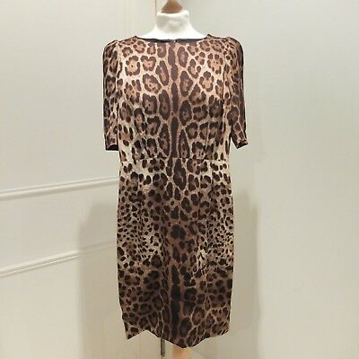 51a0a603fa9 DOLCE & GABBANA Leopard Print Silk Blend Knee Length Sheath Dress Size  38IT/6UK
