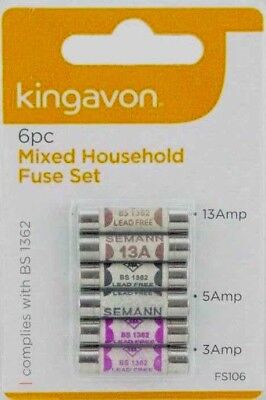 Domestic Household ceramic mixed fuses 3amp - 5amp - 13amp - 6 pack