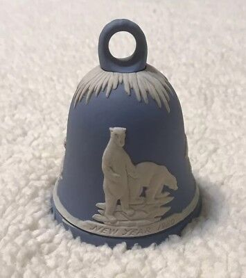 Hard To Find Beautiful Wedgwood Blue Jasper Ware Bell New Years 1980