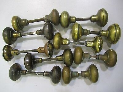 10 Pair/Sets Assorted Antique Vtg Solid Brass & Plated Door Knobs(20) Restore #A