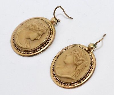 A Splendid Pair Of Antique Victorian Gilt Metal Carved Lava Cameo Earrings