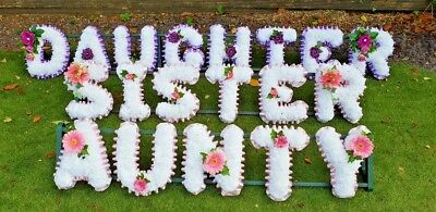 Artificial Silk Funeral Flower Wreath AUNTY  5 Letter Floral Tribute Memorial