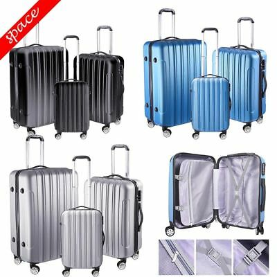 3PCS Travel Hardshell Luggage Suitcase Trolley Carry-On Set With Spinner Wheels