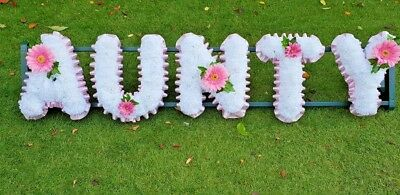 Artificial Silk Funeral Flower Wreath AUNTY Letter Word Floral Tribute Memorial