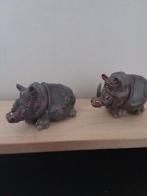 """Two Rhinocero Sitting and Standing by Blue Sky Clayworks Signed Artist """"Lynda"""""""