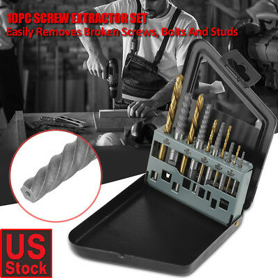10Pcs Steel Screw Extractor LEFT HAND Cobalt Drill Bit Set Broken Bolt Remove