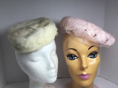 Lot Of 2 Vintage Ladies Hats Pink With Netting And Fur