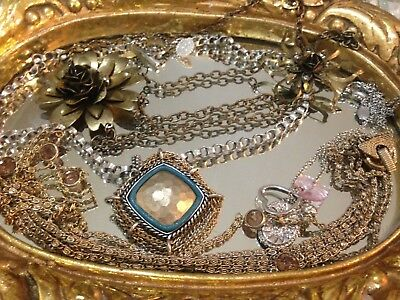 Vintage To Now Necklaces Lot, Antique Gold, Silver Plated, Beads