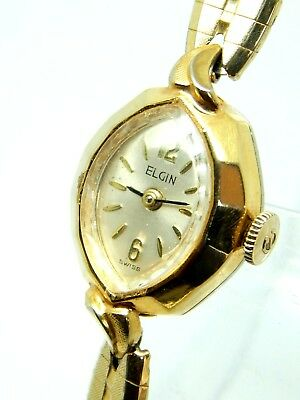 Vintage Ladies Elgin 10K Rolled Gold Plate Watch 17 Jewel Cal. 83F with gift box