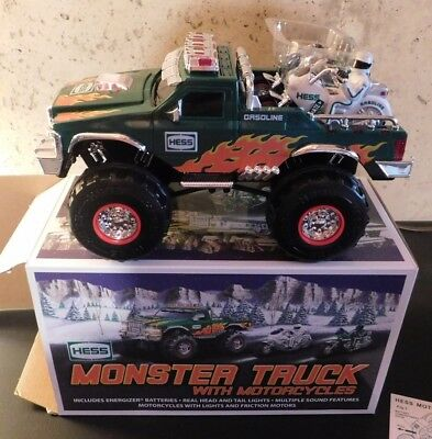 New In Box 2007 Hess Monster Truck With Motorcycles