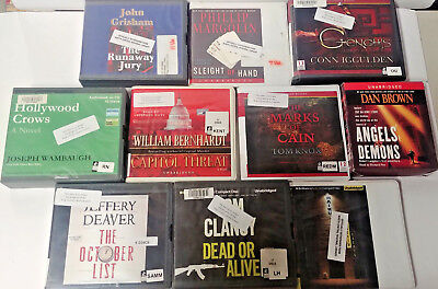 Mystery Thriller Audio Books Lot of 10 on CD FREE SHIPPING Unabridged A-11