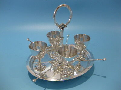Lovely Elegant Antique Silver Plated Victorian Style Egg Cup Stand With Spoons