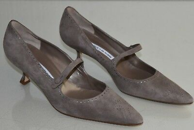 b002c4a4c88 NEW Manolo Blahnik BB Pump MARY JANE Suede Taupe Beige Kitten Heel Shoes  40.5