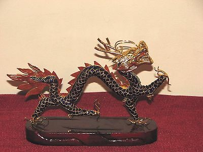 Cloisonne Gilded Chinese Dragon on Red Lacquer Wood Base