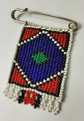 Vintage Native American Style Handmade Beaded Dagle Brooch Pin Seed Beads