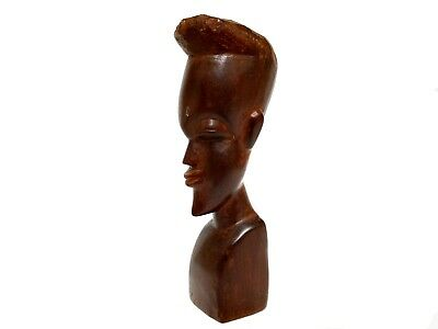 Vintage Hand Carved Wooden Man Bust Statue Sculpture Solid Wood Tribal Folk Art