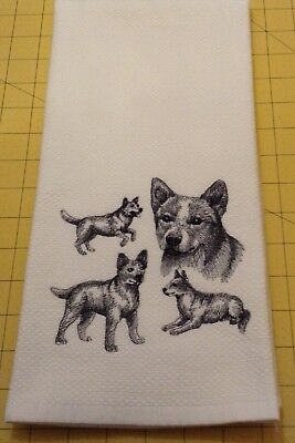 Red Heeler Collage Embroidered Williams Sonoma Kitchen Hand Towel