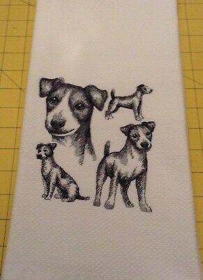Jack Russell Collage Sketch Embroidered Williams Sonoma Kitchen Hand Towel