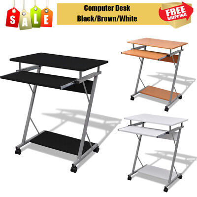Computer Desk Pull Out Tray Furniture Office Student Table Black /Brown/White