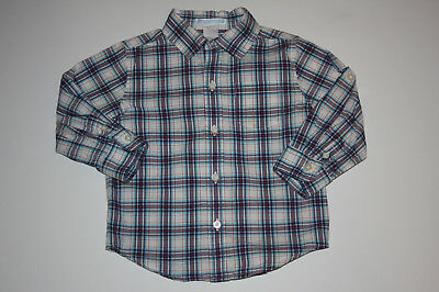 Janie and Jack Toddler Boys Marine Explorer Plaid Shirt 18-24 months EUC Whale