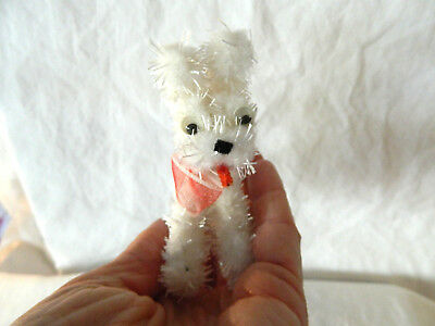 """Vintage White Fuzzy Pipe Cleaner Dog Red Bow 3 1/4"""" Japan  Companion Ginny Doll"""