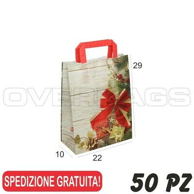50 Pz Borsa Shopper Sacchetto In Carta Merry Christmas 22X10X29 Manici Piatti