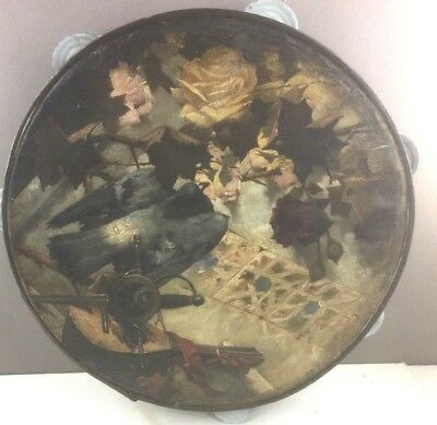 Antique Tambourine with oil painting of Bird, Sword & Tambourine (old master?)