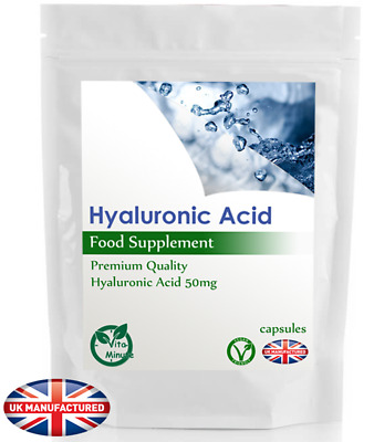 Hyaluronic Acid 50mg - 30/60/90/120/180 Capsules (V) Skin, Hair, Nails Care, UK