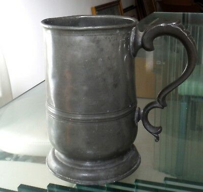 C19Th Pewter Quart Tankard-Watts & Harton-London Touchmark *