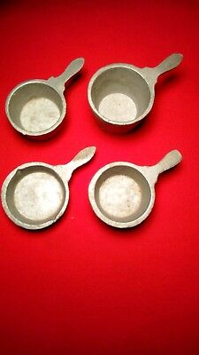 Vintage (1930's) four gray cast iron pots with handles - doll house miniatures