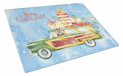 Merry Christmas Norwich Terrier Glass Cutting Board Large