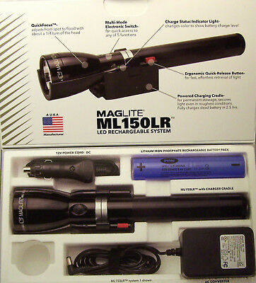Police Maglite Led 3 C Rechargeable Flashlight Ml150Lr 1,082 Lumens + Free Gift