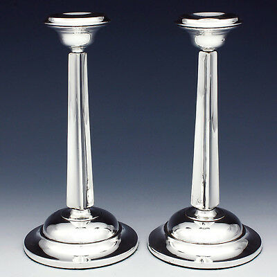 Pair of Sterling Silver Candlesticks ~ Reynolds & Westwood ~ Tapered ~ 1906