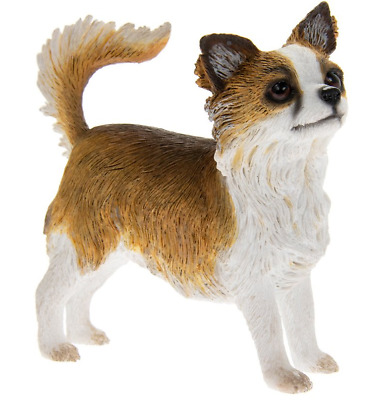 Long Haired Chihuahua Dog Statue By Leonardo Brown and White Chihuahua Figurine