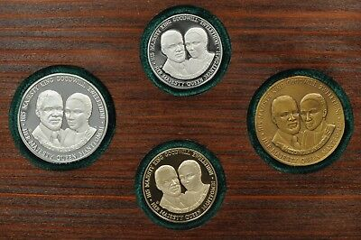 South Africa 1977 Zulu Nation June Wedding, Gold-Plat.-Silver-Bronze 4 Coin Set