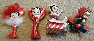 Lot of 4 Betty Boop Christmas Ornaments in Excellent Condition