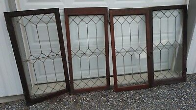 Set Of 4 matching antique leaded glass oak cabinet doors with hardware…